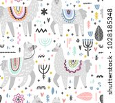 seamless pattern with lamas... | Shutterstock .eps vector #1028185348