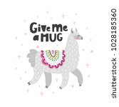 gray lama illustration with... | Shutterstock .eps vector #1028185360
