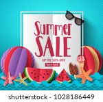 summer sale vector banner... | Shutterstock .eps vector #1028186449