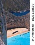shipwreck beach on zakynthos... | Shutterstock . vector #1028188699