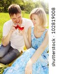 Portrait of a young couple in the meadow with glasses of wine - stock photo