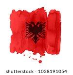 flag of albaniamade of brush...   Shutterstock .eps vector #1028191054