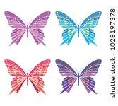 set collection of butterflies... | Shutterstock .eps vector #1028197378