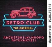 neon light glowing vector retro ... | Shutterstock .eps vector #1028198548