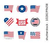 american flag vector emblems ...   Shutterstock .eps vector #1028199658