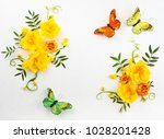 flowers composition oh white... | Shutterstock . vector #1028201428