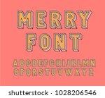 merry  font. vector typeface. | Shutterstock .eps vector #1028206546