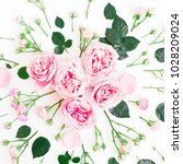 floral pattern made of pink... | Shutterstock . vector #1028209024