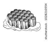honeycomb vector drawing. hand... | Shutterstock .eps vector #1028210554