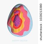 3d abstract paper cut... | Shutterstock .eps vector #1028213380