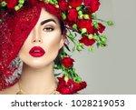 beauty fashion model girl... | Shutterstock . vector #1028219053
