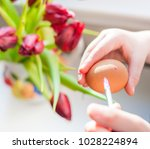 child's hands with a brush...   Shutterstock . vector #1028224894