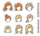 collection of women faces ... | Shutterstock .eps vector #1028231416
