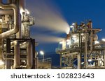 oil refinery with water vapor... | Shutterstock . vector #102823643