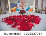 honeymoon bed look like heart... | Shutterstock . vector #1028237764