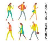 people walking and  looking on... | Shutterstock .eps vector #1028240080