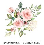 Stock photo  watercolor flowers floral illustration leaf and buds botanic composition for wedding or 1028245183