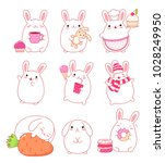 set of cute rabbits in kawaii... | Shutterstock .eps vector #1028249950