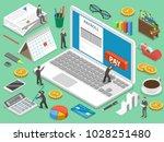 payroll flat isometric concept... | Shutterstock . vector #1028251480