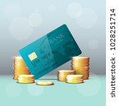 credit card   gold coins banner.... | Shutterstock .eps vector #1028251714