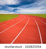 running track over blue sky and ... | Shutterstock . vector #102825356