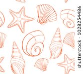 shell and starfish seamless... | Shutterstock .eps vector #1028254486