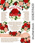 welcome spring poster of roses... | Shutterstock .eps vector #1028255620