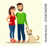 young man and woman are... | Shutterstock .eps vector #1028256058