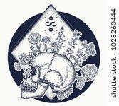 magic skull tattoo and t shirt... | Shutterstock .eps vector #1028260444