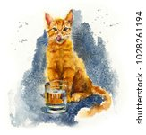 red domestic cat drinking.... | Shutterstock . vector #1028261194