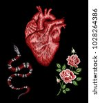 embroidered snake  human heart  ... | Shutterstock .eps vector #1028264386