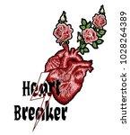 hand drawn slogan heart breaker ... | Shutterstock .eps vector #1028264389