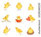 cute chicken in various... | Shutterstock .eps vector #1028268220