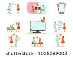 people finding love and dating... | Shutterstock .eps vector #1028269003