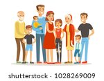 happy big caucasian family with ... | Shutterstock .eps vector #1028269009