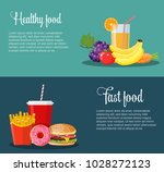healthy and unhealthy food... | Shutterstock .eps vector #1028272123