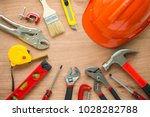 flat lay  set of construction... | Shutterstock . vector #1028282788