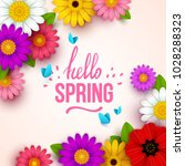 colorful spring background with ... | Shutterstock .eps vector #1028288323