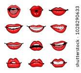 comic female lips set. smile ... | Shutterstock . vector #1028290633