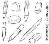 Stock vector vector set of pen pencil eraser 1028292064