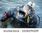 commercial  diver with scuba... | Shutterstock . vector #1028294209
