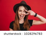 close up of a cheery stylish... | Shutterstock . vector #1028296783