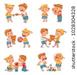 Good and bad behavior of a child. Brother and sister fighting over a toys. Best friends forever. Funny cartoon character. Isolated on white background. Vector illustration. Set | Shutterstock vector #1028304328