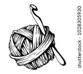 Stock vector a ball of yarn and a crochet hook black and white vector illustration graphics 1028305930