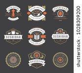 sushi restaurant logos set...   Shutterstock .eps vector #1028309200