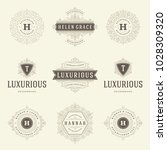 luxury logos templates set ... | Shutterstock .eps vector #1028309320