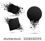 set of black explosion banners. ... | Shutterstock .eps vector #1028330293