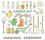 colorful hand drawn spring... | Shutterstock .eps vector #1028334646