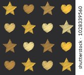 embroidery stars and hearts... | Shutterstock .eps vector #1028339560