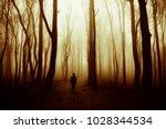 man walking in mysterious... | Shutterstock . vector #1028344534